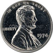 USA One Cent (Lincoln Memorial Cent Pattern)  IN GOD WE TRUST LIBERTY 1974 VDB coin obverse