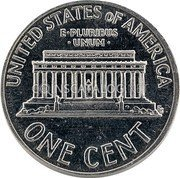 USA One Cent (Lincoln Memorial Cent Pattern)  UNITED STATES OF AMERICA E • PLURIBUS • UNUM • ONE CENT coin reverse