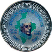 UK One Dollar 50th anniversary of Indian Independence 1997 INDIAN INDEPENDENCE 1947 1997 coin reverse