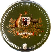 Australia One Dollar Coat of Arms 2008 P Proof 2008 ELIZABETH II ONE DOLLAR P coin obverse