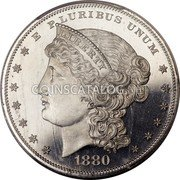 USA One Dollar (Metric Dollar Pattern) E PLURIBUS UMUM LIBERTY 1880 coin obverse