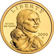 USA One Dollar Sacagawea pattern 2000 W Proof LIBERTY IN GOD WE TRUST 2000 W coin obverse