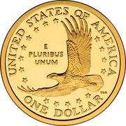 USA One Dollar Sacagawea pattern 2000 W Proof UNITED STATES OF AMERICA E PLURIBUS UNUM ONE DOLLAR coin reverse