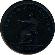 Canada One Stiver 1838 Nova Scotia TRADE & NAVIGATION 1838 coin obverse