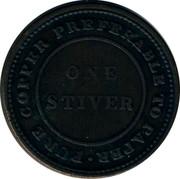 Canada One Stiver 1838 Nova Scotia PURE COPPER PREFERABLE TO PAPER ONE STIVER coin reverse