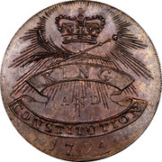 UK ½ Penny (J. Jordan (Essex - Chelmsford)) KING AND CONSTITUTION 1794 coin reverse