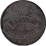 UK ½ Penny (W. Clachar (Essex - Chelmsford)) KING AND CONSTITUTION 1794 coin obverse