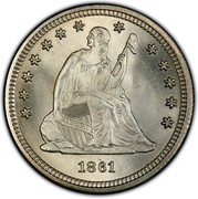 USA Quar. Dol. Seated Liberty 1861 KM# A64.2 LIBERTY coin obverse