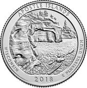 USA Quarter Dollar (Apostle Islands)  APOSTLE ISLANDS   WISCONSIN   2018   E PLURIBUS UNUM coin reverse