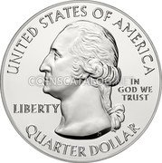 USA Quarter Dollar (Theodore Roosevelt National Park) KM# 638a UNITED STATES OF AMERICA LIBERTY IN GOD WE TRUST S QUARTER DOLLAR coin obverse