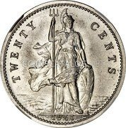 UK Twenty Cents (Elizabeth II (Decimal Pattern)) KM# Pn143 TWENTY CENTS 1961 coin reverse