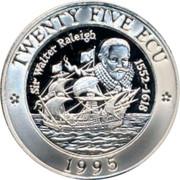 UK Twenty Five ECU Sir Walter Raleigh 1995 TWENTY FIVE ECU SIR WALTER RELEIGH 1552-1618 1995 coin reverse
