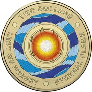 Australia Two Dollars (Eternal Flame) TWO DOLLARS LEST WE FORGET ETERNAL FLAME coin reverse