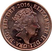 UK Two Pence Royal Shield 2015 KM# 1333 ELIZABETH II DEI GRA REG FID DEF 2016 coin obverse