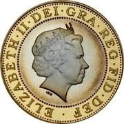 UK Two Pounds Marconi Telegraph (Piedfort) 2001 Proof KM# P106 ELIZABETH∙II∙DEI∙GRA∙REG∙FID∙DEF ∙ IRB coin obverse