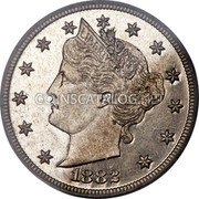 USA V Cents (Pattern) KM# Pn1775 LIBERTY 1883 coin obverse