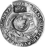 Russia Yefimok 1655 KM# 430 Empire Countermarked coinage 1655 MONETA NOVA ARGENT CIVIT THORVNENSIS 1637 coin obverse