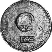 Russia Yefimok 1655 KM# 439 Empire Countermarked coinage 1655 CONCORDIA RES PARVAE CRESCVNT coin obverse
