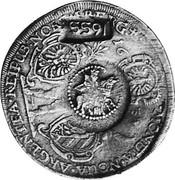 Russia Yefimok 1655 KM# 406 Empire Countermarked coinage 1655 MONETA NOUA ARGENTEA REIPUB NORIMBERG 1635 coin obverse