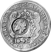 Russia Yefimok 1655 KM# 408 Empire Countermarked coinage NVMMVS REIP ARGFNTOHATENSIS coin obverse