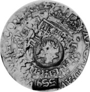 Russia Yefimok 1655 KM# 410 Empire Countermarked coinage 1655 ∙ ARCHID ∙ AVST ∙ DVX ∙ BVRG ∙ BRAB ∙ Z coin obverse