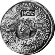 Russia Yefimok 1655 KM# 431 Empire Countermarked coinage 1655 FERDINANDVS : III : D : G : ROM : IMP : SP : MP : AVGVS 1647 coin obverse