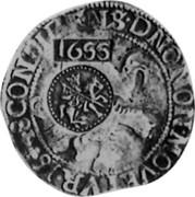 Russia Yefimok 1655 KM# 421 Empire Countermarked coinage 1655 CONFIDENS.DNO. NON.MOVETVR coin obverse