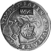 Russia Yefimok 1655 KM# 403 Empire Countermarked coinage ∙CIVITATIS - IMPERIALS coin obverse