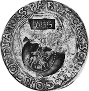 Russia Yefimok 1655 KM# 426 Empire Countermarked coinage 1655 * CONCORDIA ∙ RES ∙ PARVAE CRESCVNT coin obverse