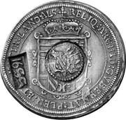Russia Yefimok 1655 KM# 407 Empire Countermarked coinage RELIQ:ARCHID:GVBERNAT:PLEN:ET:COM:TIR:LAND:ALS + coin obverse