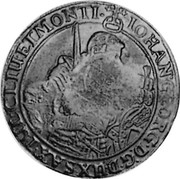 Russia Yefimok 1655 KM# 436 Empire Countermarked coinage IOHAN. GEORG. D. G. DVX SAX. IVL. CLIV. ET. MONTI. coin reverse