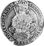 Russia Yefimok 1655 KM# 430 Empire Countermarked coinage VLADIS IIII D G REX POL ET SVEC M D L RVS PRVSRA: coin reverse
