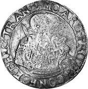 Russia Yefimok 1655 KM# 439 Empire Countermarked coinage MO ARG P - RO C CONFOE BELG TRAN coin reverse