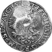 Russia Yefimok 1655 KM# 428 Empire Countermarked coinage FERDIN A III D G RO IMP SEM AVG 1652 coin reverse