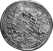 Russia Yefimok 1655 KM# 406 Empire Countermarked coinage FERDINAND II D G ROM IMP SE AU GE HLI BO REX coin reverse
