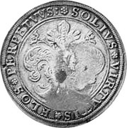 Russia Yefimok 1655 KM# 408 Empire Countermarked coinage SOLIVS VIRTVTIS FLOS PERPETVVS coin reverse