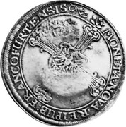 Russia Yefimok 1655 KM# 431 Empire Countermarked coinage MONETA NOVA REIPUB FRANCOFURTENSIS coin reverse