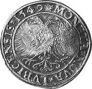 Russia Yefimok 1655 KM# 403 Empire Countermarked coinage MONETA∙NOVA∙LVBICENSIS∙1549 coin reverse