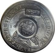 Russia Yefimok Alexey Mikhailovich (Countermarked over Austria Hall Mint Taler 1613) 1655 KM# 440 1655 coin obverse