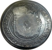 Russia Yefimok Alexey Mikhailovich (Countermarked over Austria Hall Mint Taler 1613) 1655 KM# 440 coin reverse