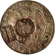 Russia Yefimok Alexey Mikhailovich (Countermarked over Netherlands Rijksdaalder 1606-1653) 1655 KM# 420 1655 CONCORDIA RES PARVAE CRESCUNT / 1628 coin obverse