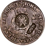Russia Yefimok Alexey Mikhailovich (Countermarked over Saxony Taler of Johann Georg I 1632) 1655 KM# 401 1655 IOHAN. GEORG. D. G. DVX SAX. IVL. CLIV. ET. MONTI. coin obverse