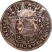 Russia Yefimok Alexey Mikhailovich (Countermarked over Saxony Taler of Johann Georg I 1632) 1655 KM# 401 16 32 SA. ROM. IMP. ARCHIM. ET ELECT. coin reverse