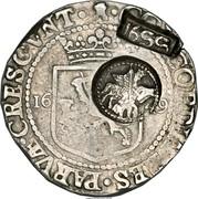 Russia Yefimok Alexey Mikhailovich (Countermarked over Zeeland Rijksdaalder 1649) 1655 KM# 427 1655 CONCORDIA RES PARVAE CRESCVNT coin obverse