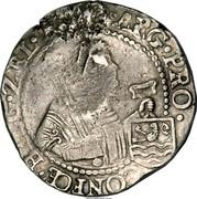 Russia Yefimok Alexey Mikhailovich (Countermarked over Zeeland Rijksdaalder 1649) 1655 KM# 427 ARG PRO CONFOE BELG ZEL MO coin reverse