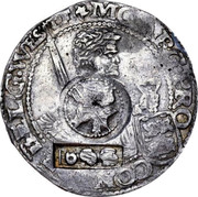 Russia Yefimok Countermarked over Spanish Netherlands Patagon 1625 1655 KM# 422 MO ∙ ARG PRO ∙ CON FOE ∙ BELG ∙ WESTFRI (1655) coin obverse