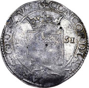 Russia Yefimok Countermarked over Spanish Netherlands Patagon 1625 1655 KM# 422 CONCORDIA ∙ RES ∙ PARVÆ ∙ CRESCUNT 16 51 coin reverse