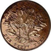 Canada 1 Penny Token Victoria 1856 Proof KM# 6a PROVINCE OF NOVA SCOTIA ONE PENNY TOKEN coin reverse