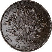 Canada 1 Penny Token Victoria 1856 Without LCW KM# 6 PROVINCE OF NOVA SCOTIA ONE PENNY TOKEN coin reverse