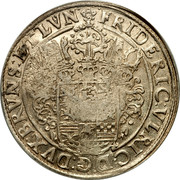 Russia 1 Yefimok Countermarked over Brunswick-Wolfenbuttel Wildman Taler 1632 1655  FRIDERIC VILRIC D G DVX BRVNS ET LVN coin reverse